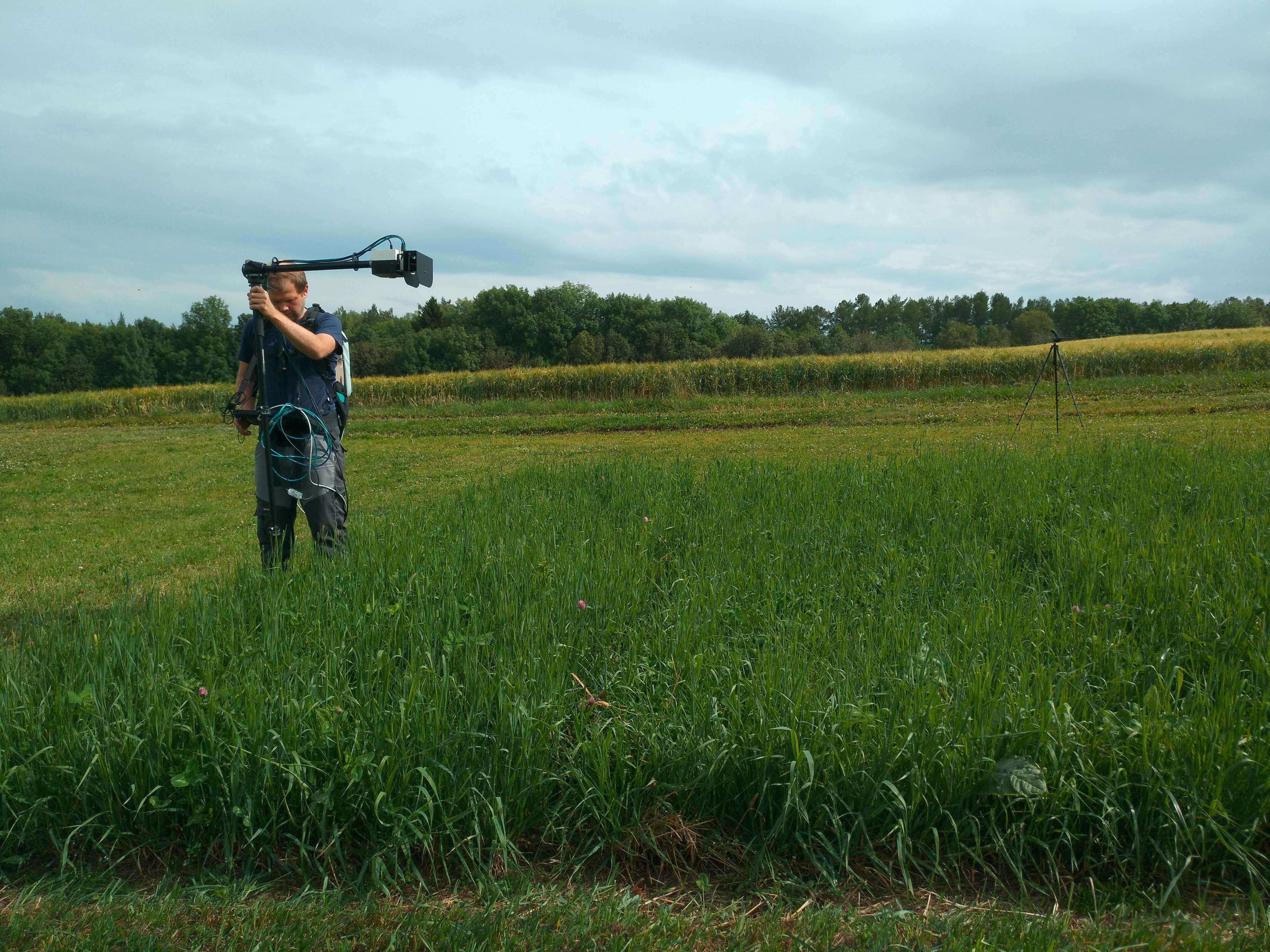 Measuring the reflectance and canopy density in a field trial