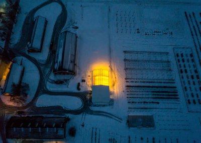 Apelsvoll greenhouse at night