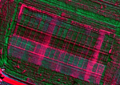 Hyperspectral aerial image showing different fertilizer levels